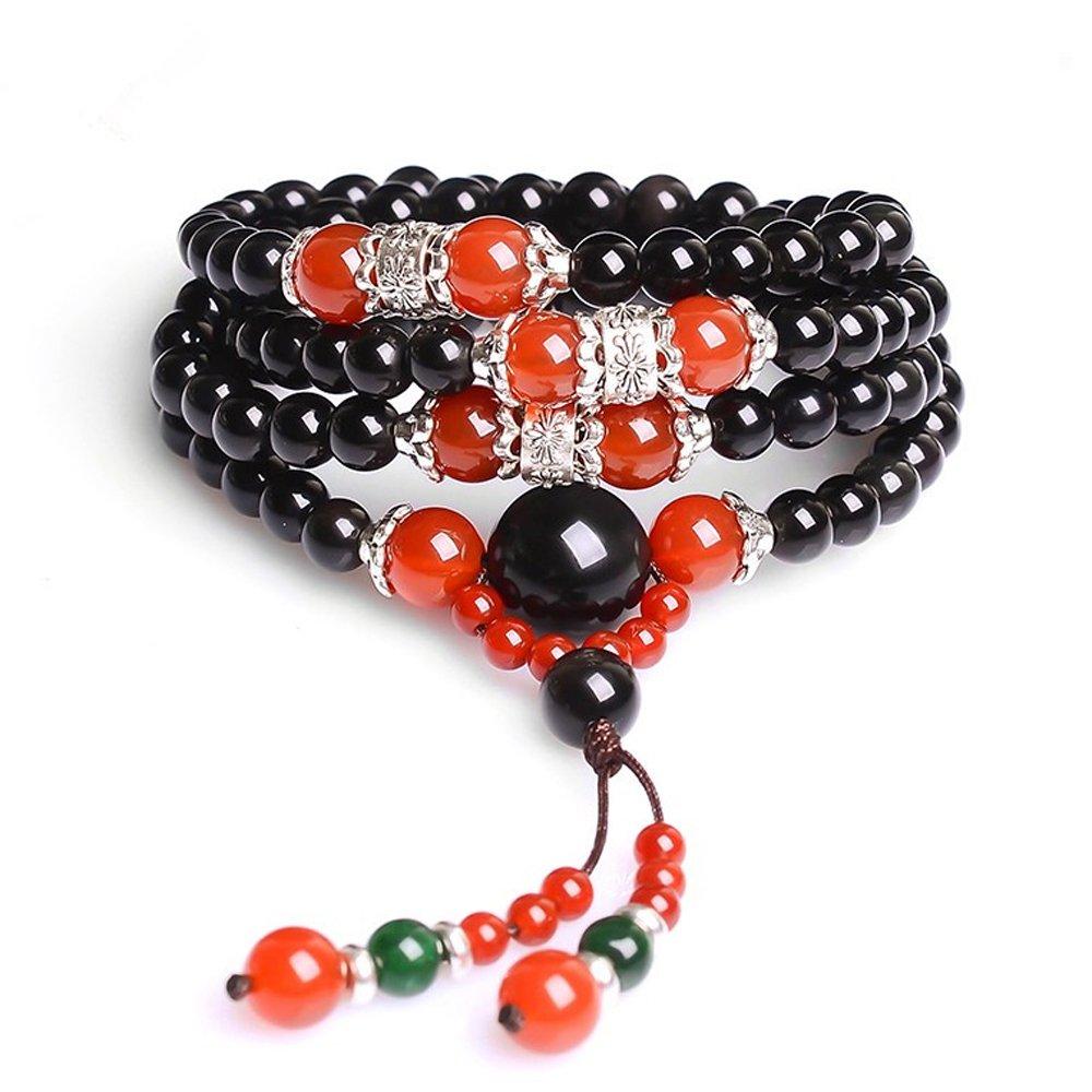 Natural Crystal Cat Eye Obsidian Beads Buddhist Prayer Mala Meditation Necklace Bracelet Felix Perry 108SC065