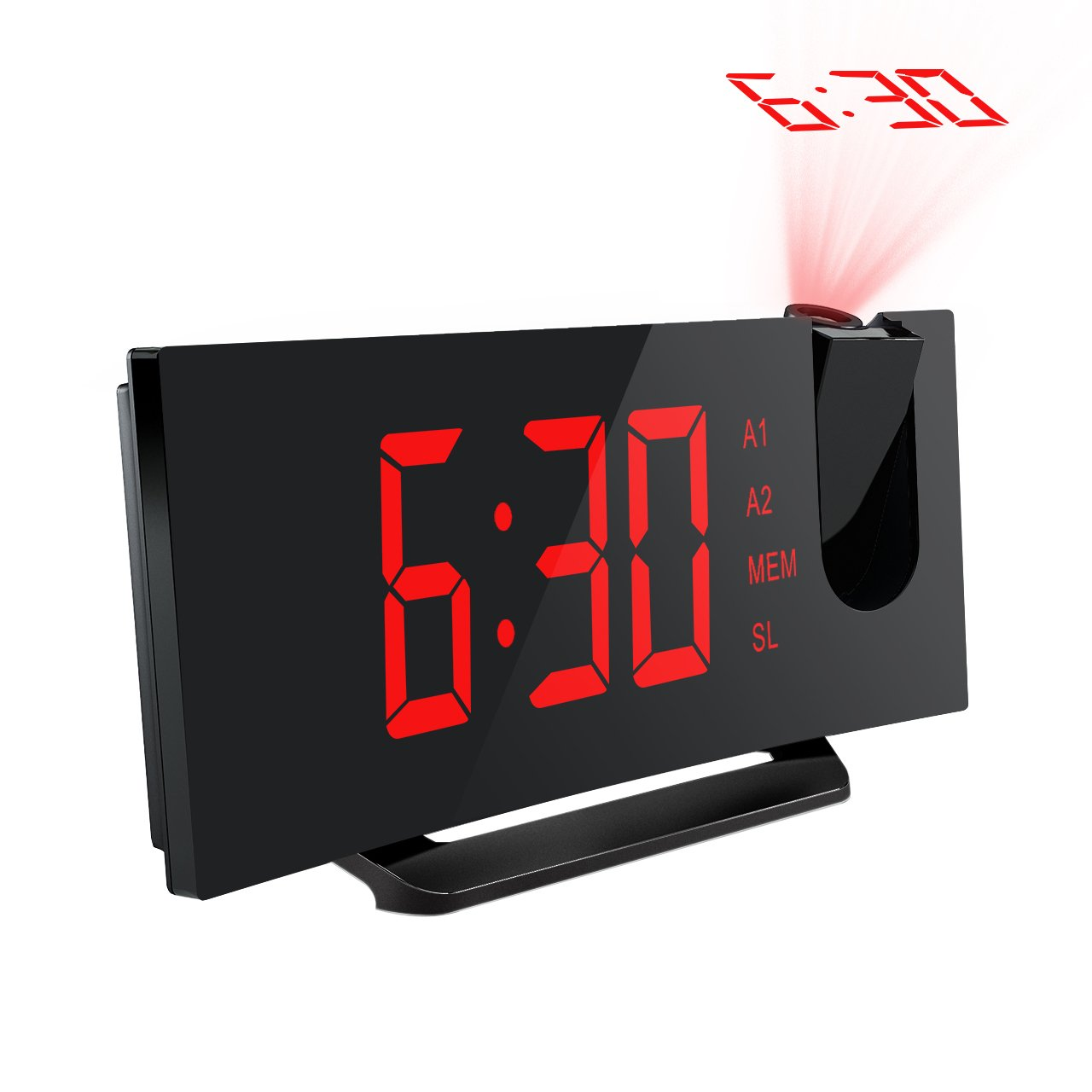 Mpow 5'' Projection Alarm Clock, FM Radio Alarm Clock with Dual Alarm, Digital Clock with 3 Dimmer Display for Bedroom, Ceiling, USB Charging Port, Backup Battery for Setting (Red)