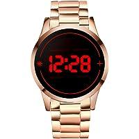 WMWMY LED Numérique en Acier Inoxydable Montre | Haut De Luxe De Marque Life Touch Écran Men's Watch Watch Watch Étanche Horloge