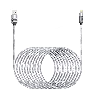 [ Apple MFi Certified ]iPhone Charger Cord 16Ft, Nylon Braided Long Lightning Cable to USB Cable, 2.4A Fast Charging Apple Cord Compatible with iPhone 11/11 Pro/11 Pro Max/XS/XS Max/XR/X/8/8