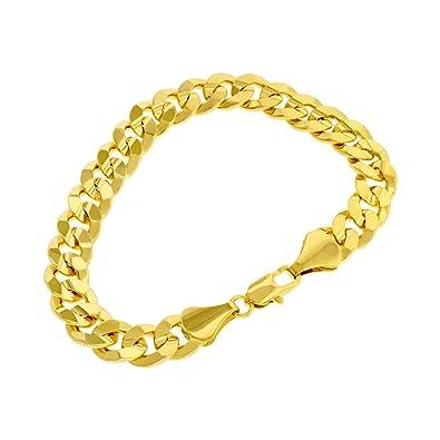 site réputé 19fed 20ca0 Bracelet homme - plaqué or 24 carats - Chaîne gourmette Hip Hop Bling, 10mm  - 23cm