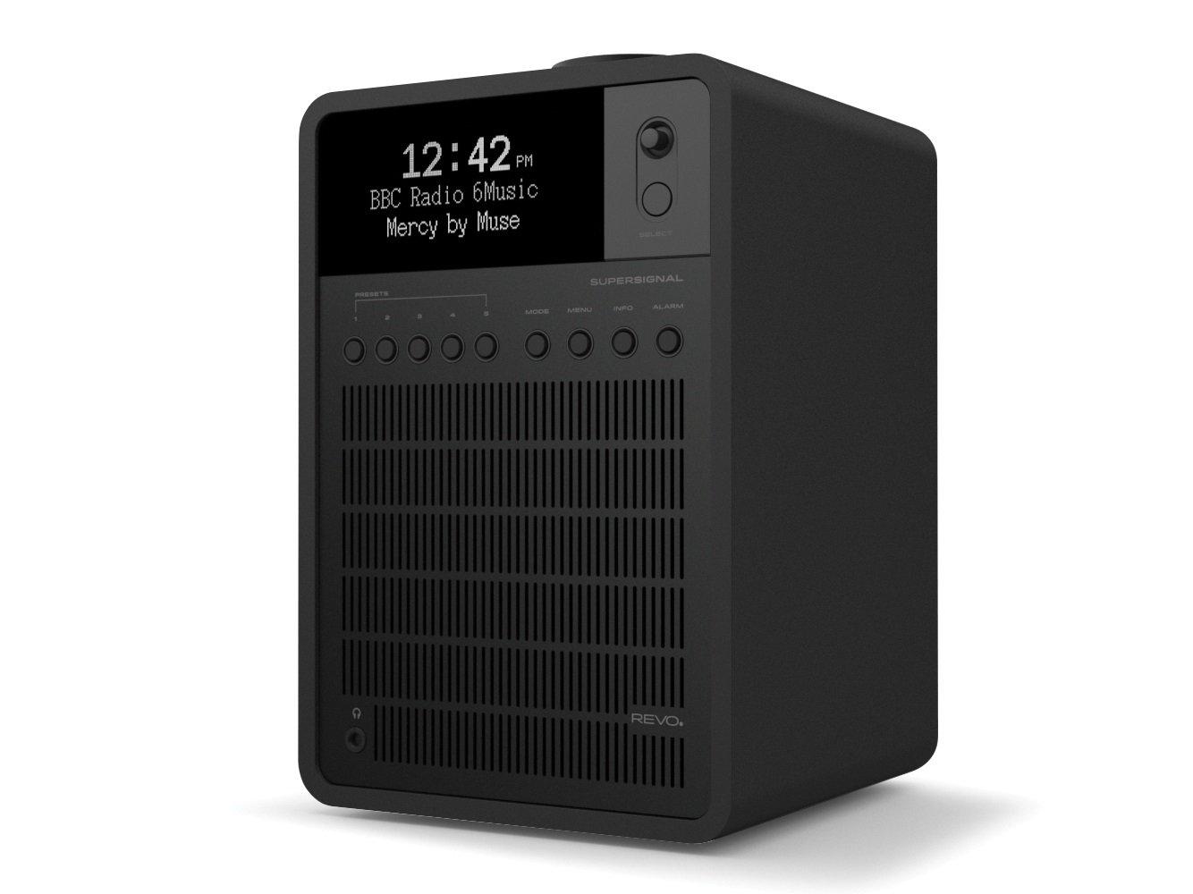 REVO SuperSignal Deluxe Radio with DAB/DAB+/FM Reception, Digital Alarm and Bluetooth Wireless Streaming - ''Shadow'' by Revo