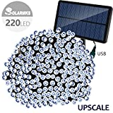 Solarmks 220 Led String Lights, 77 ft 8 Modes Solar Lights Outdoor Waterproof Decorative Lights for Patio, Lawn, Home,Landscape, Fairy Garden, Wedding