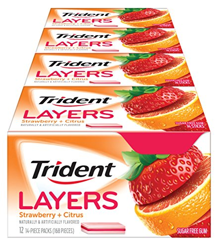 Trident Layers Strawberry + Citrus Sugar Free Gum - 12 Packs (168 Pieces Total) (Sugar Free Strawberry Gum)