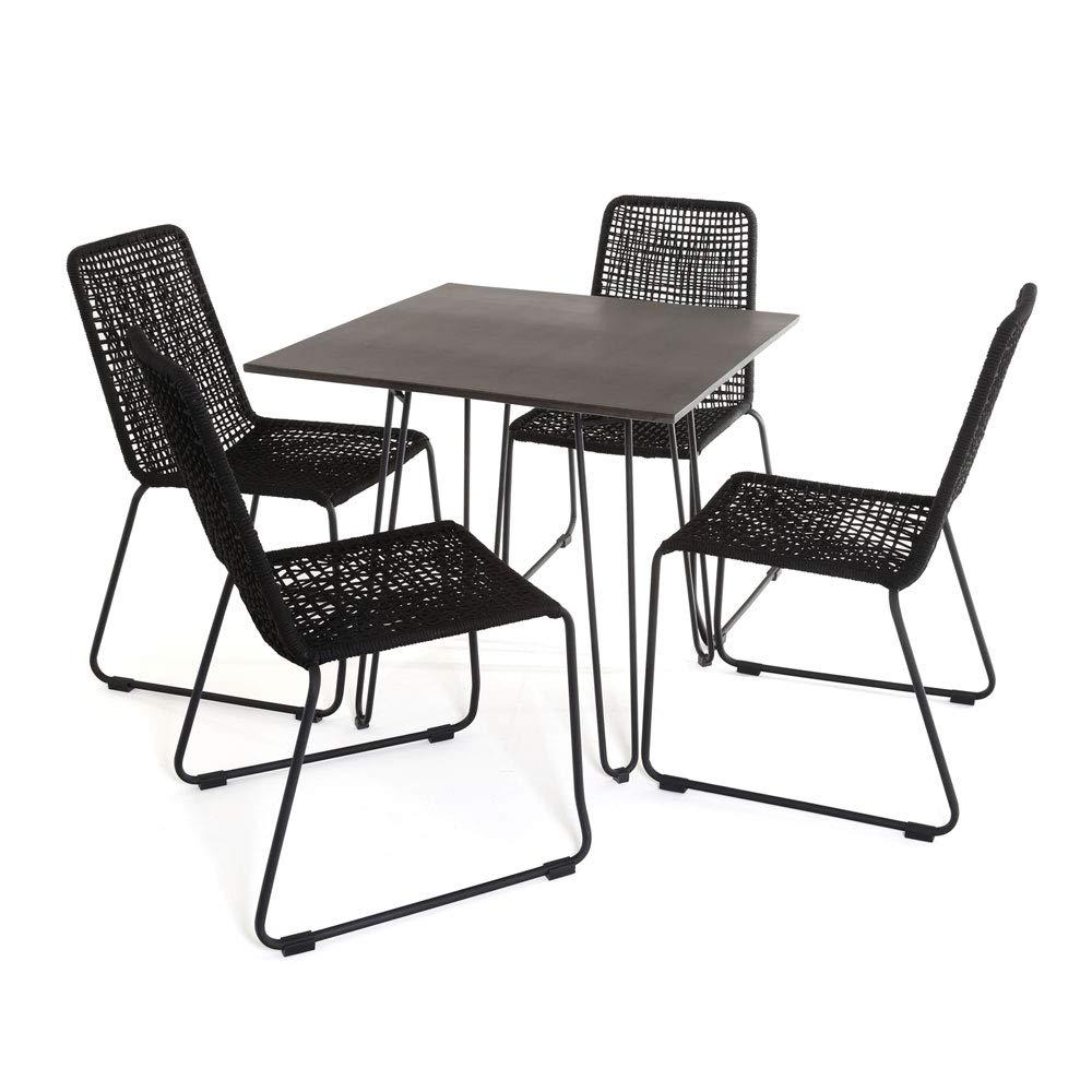 CAVO GARTENSET Faser-Zement Tisch ANTHRAZIT 80 x 80 x 76 cm + 4 x Stuhl Rope SCHWARZ
