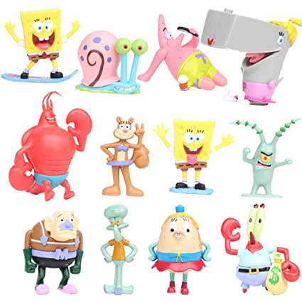 6pcs//Set 8CM Spongebob Anime Action Figure statue In PVC collection doll toy new