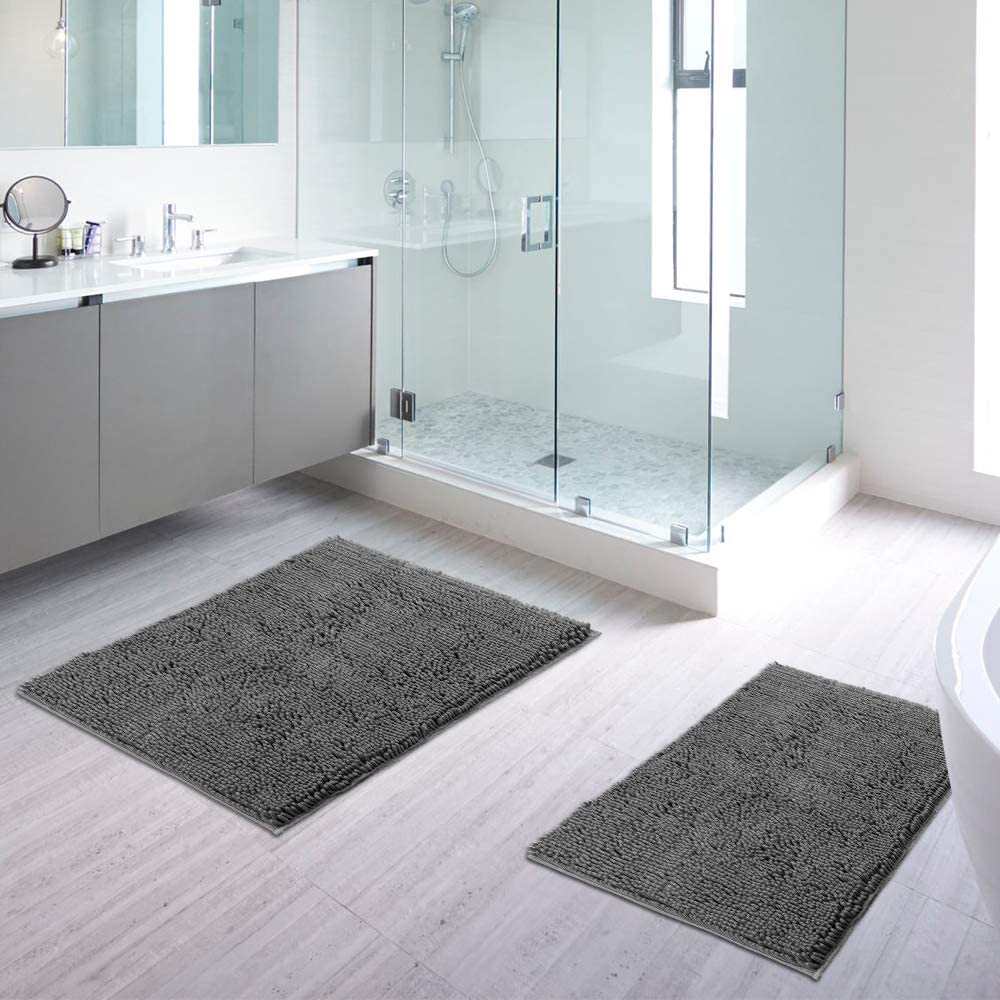 """IM Home Gray Bathroom Rug 2 Pieces Set, 17""""x24"""" Plus 20""""x32"""", Ultra Soft Non Slip and Absorbent Shaggy Chenille Bathroom Rugs and Mats Sets, Perfect Plush Bath Mats for Tub, Shower, and Bathroom"""