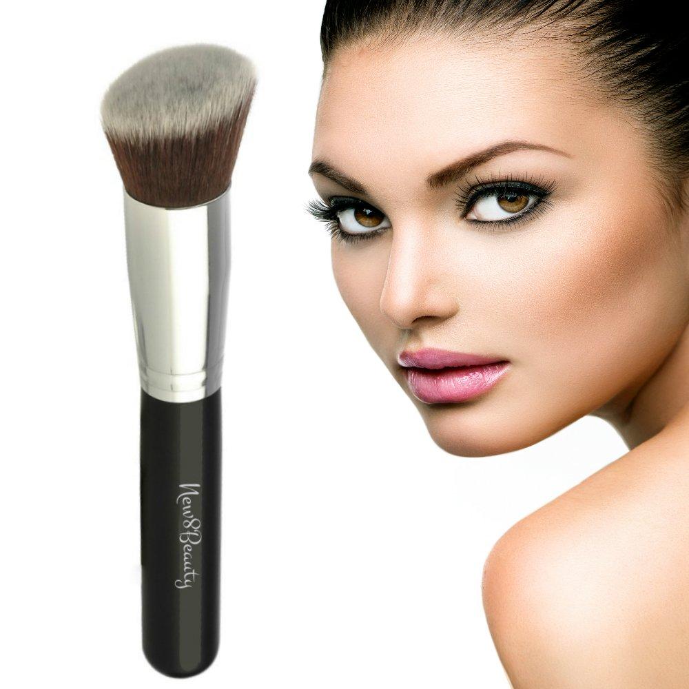 Best Cheek Blush Contour and Bronzer Makeup Kabuki Face Brush Vegan Friendly Bristles - Flawless Airbrushed Finish Skin - By New8Beauty