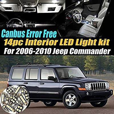 14Pc Canbus Error Free Super White 6000K Car Interior LED Light Kit Compatible for 2006-2010 Jeep Commander Equipped w/Advanced Computer system: Automotive