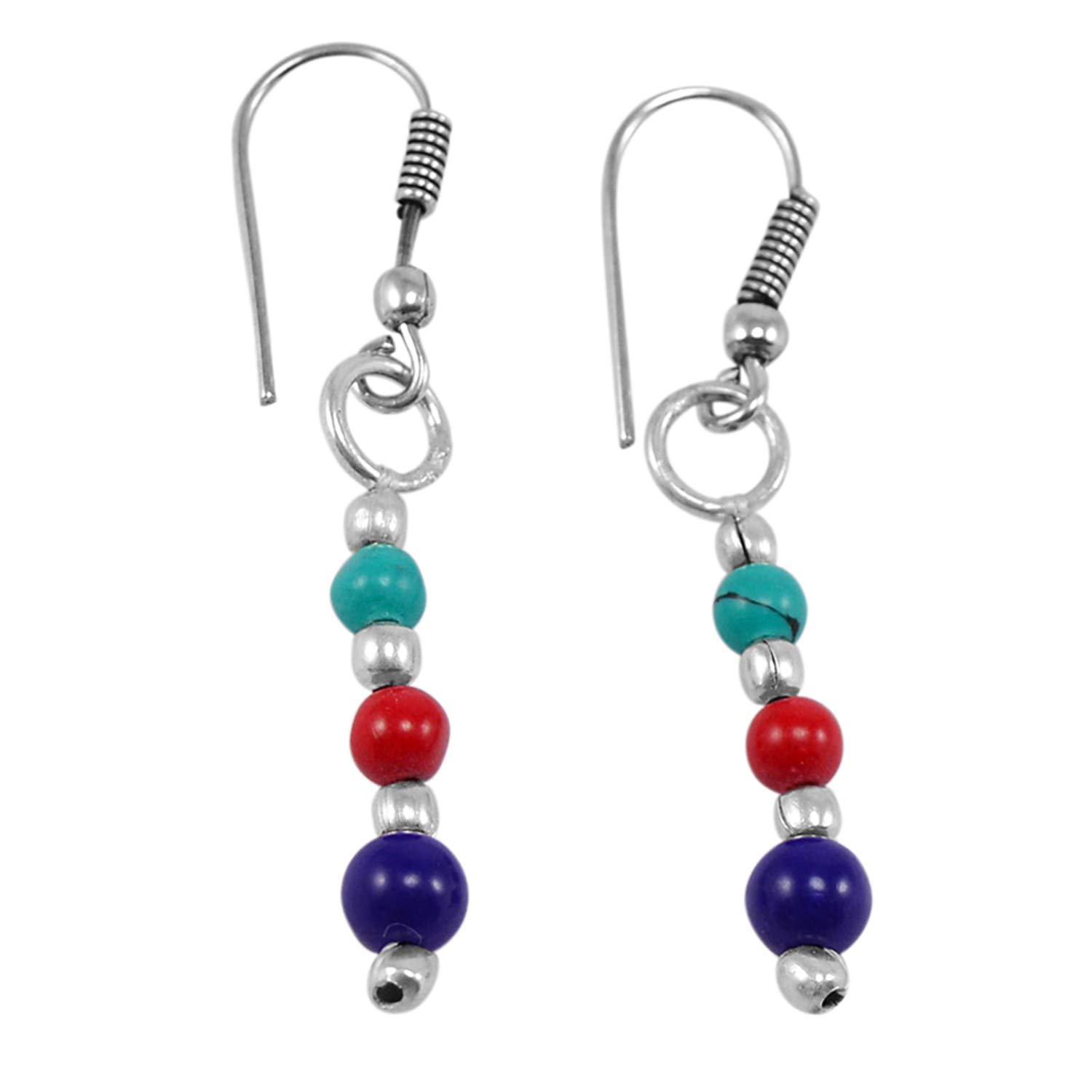 Silvestoo Jaipur Turquoise Red /& Blue Crystal Gemstone 925 Silver Plated Dangle Earring PG-130758