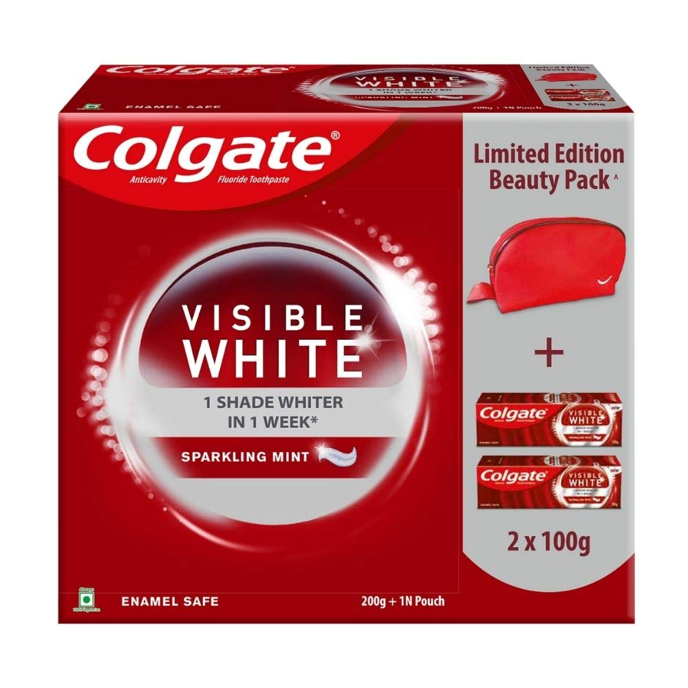 Colgate Visible White Beauty Combo (2N X 100g Toothpaste, Dazzling Red Beauty Pouch)