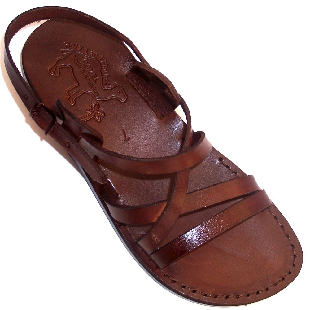 Jesus - Yashua Style II - Camel Shoemaker Unisex Outdoor Leather Biblical - Sandals - Sandals from the Holy Land - European 40, Brown