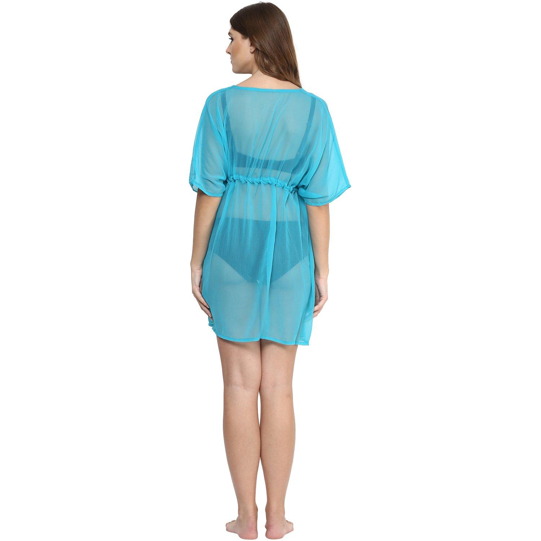 bc587c0419 Alvish Cover Up Women Drawstring Sheer Solid Plain Beach Swimsuit Wrap  Green: Amazon.co.uk: Clothing