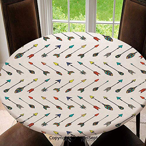 Stain Resistant Elastic Edged Table Cloth Arrows Bright Colored Arrowheads Arrowtails Pattern Decorative Art Decorative Perfect for Home or Restaurants Table Protection, Round 55