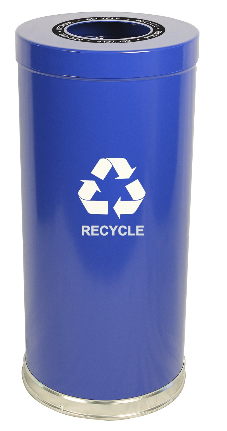 Witt Industries 15RTBL-1H Steel 24-Gallon 1 Opening Recycling Container with 1 Metal Liner, Legend ''Recycle'', Round, 15'' Diameter x 32'' Height, Blue