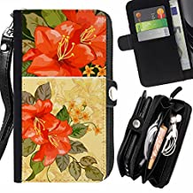 Vintage Retro Floral Painting - Flip Credit Card Slots Pu Holster Leather Wallet Pouch Protective Skin Case Cover For Sony Xperia T3