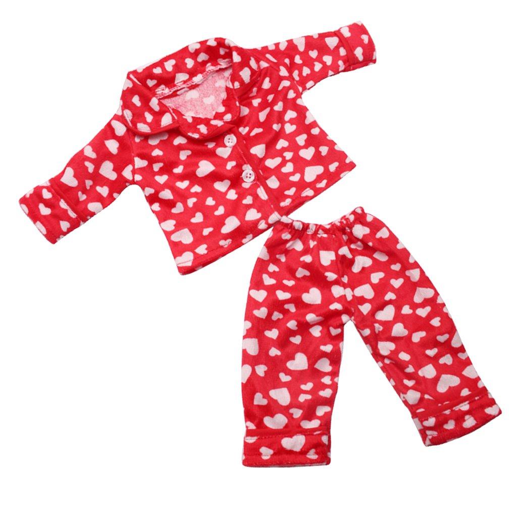 Baoblaze Vê tements Poupé es Fille Amé ricaine 18 Pouce - Pyjamas en Tissu - Rouge