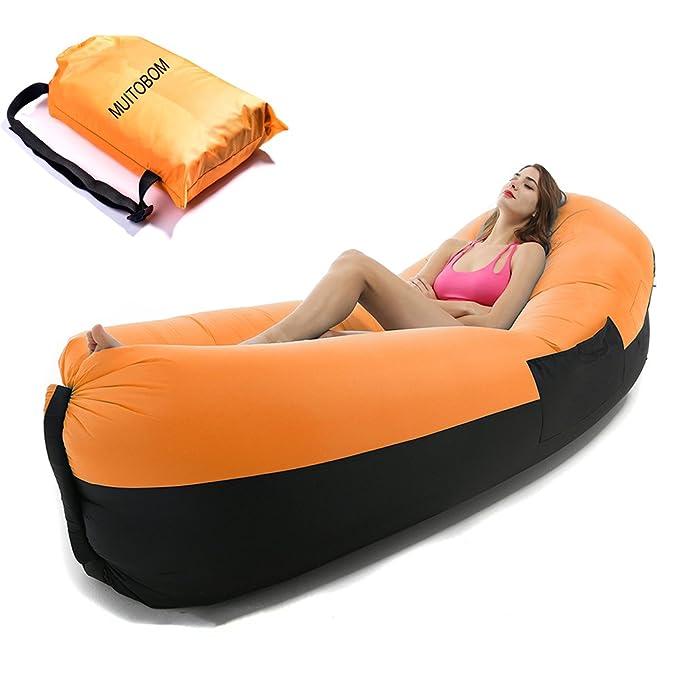 Inflable aire tumbona, tumbona inflable de muitobom sofá Blow Up sofá, piscina flotante playa tumbona, Fold Out silla hamaca cama y Lazy bolsa saco con ...