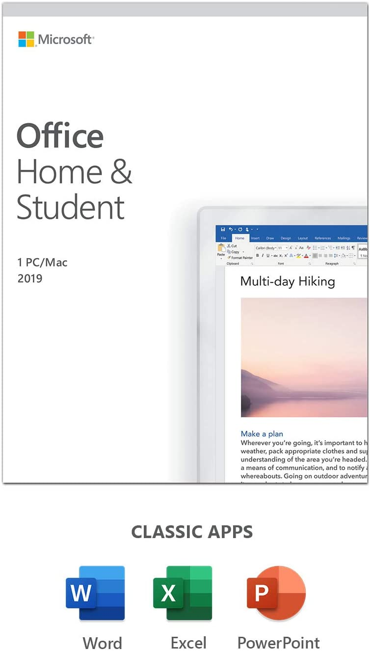 Microsoft Office 2019 Home & Student | 1 user | 1 PC (Windows 10) or Mac | one-time purchase | multilingual | Box