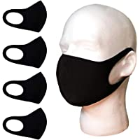 unik Cloth Face Covers, Economy Pack of 4, Thin Breathable Single Layer, Washable, Reusable Mask, Unisex, Laser Cut - Black