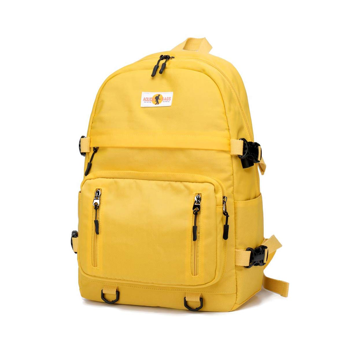 misognare Basic Backpack Unisex College Student Book Bag Travel Daypack for 14 inch Laptop (Yellow) by misognare