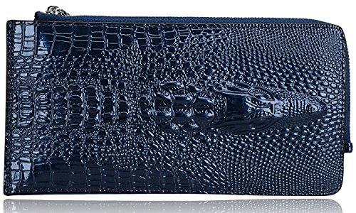 Pijushi Croco Embossed Leather Clutch Bag Cross Body Handbag 8062 (One Size, 231-2511 Blue)