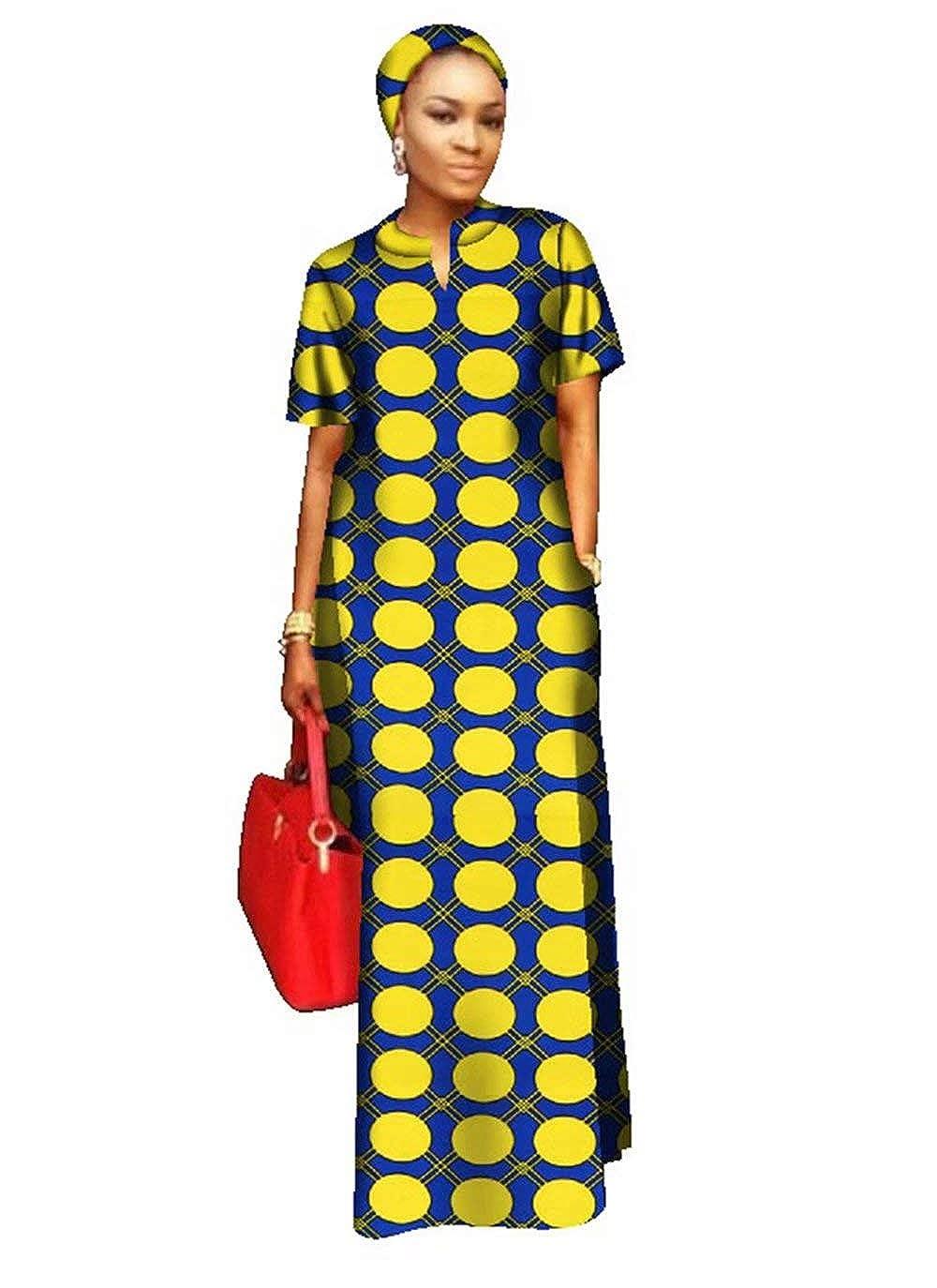 24fs1170 BintaRealWax Womens Straight Cut Ankara Maxi Dress Short Sleeve African Dress & Head Wrap