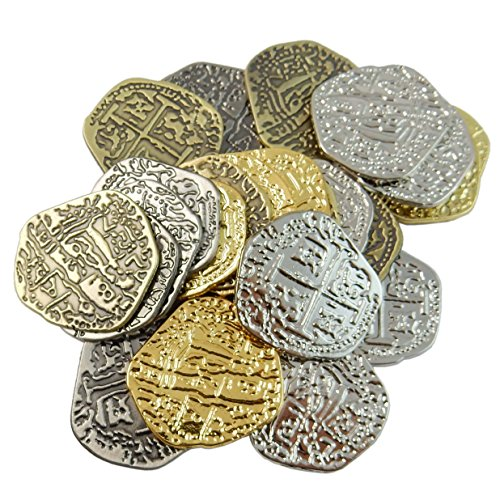 Metal Pirate Treasure Coins - 25 Medium Assorted Shiny Gold & Silver and Antique Bronze & Silver - Doubloon Replicas ()