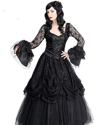 Sinister Gothic Plus Size Black Satin Tulle & Lace Long Renaissance ...