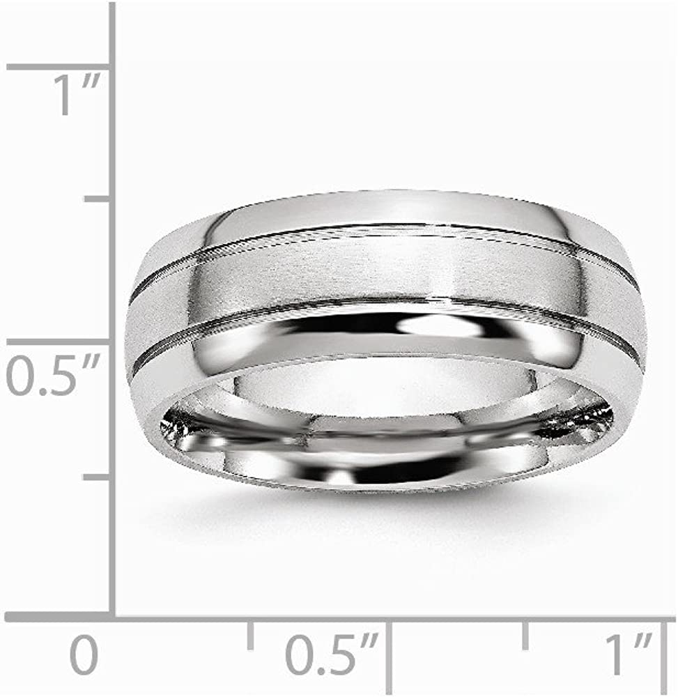Cobalt Polished and Satin Grooved 8mm Band Size