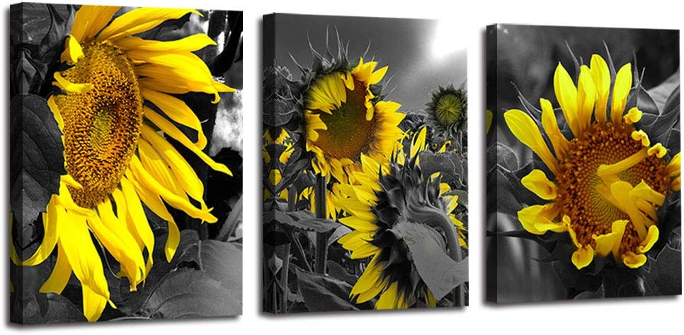 """Arjun Canvas Wall Art Sunflowers Yellow Flowers Pictures Bloosom Modern Florals 3 Panels 16""""x20"""", Black and White Painting Prints Framed for Bedroom Kitchen Dinning Room Living Room Office Home Décor"""