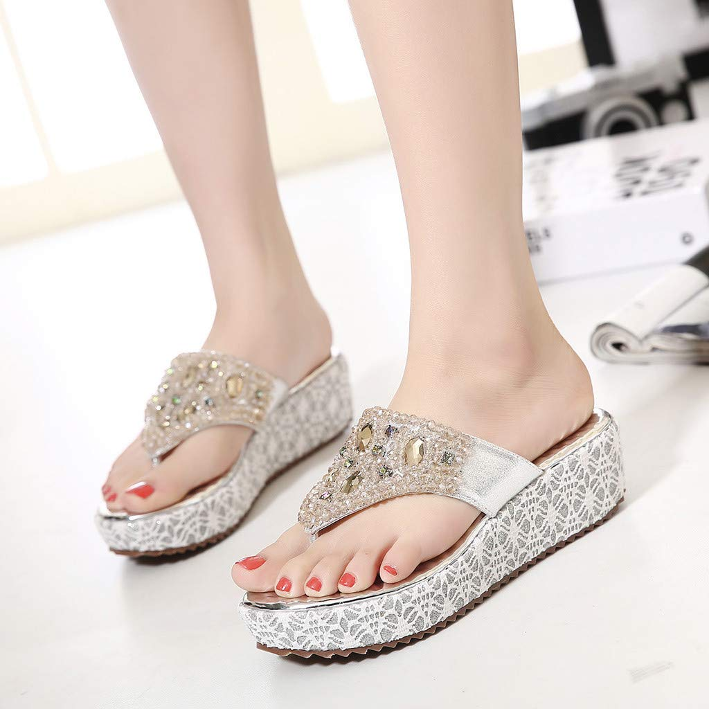 Moonker Summer Womens Slippers Rhinestone Beaded Wedge Flip-Flops Fashion Girls Ladies Shoes