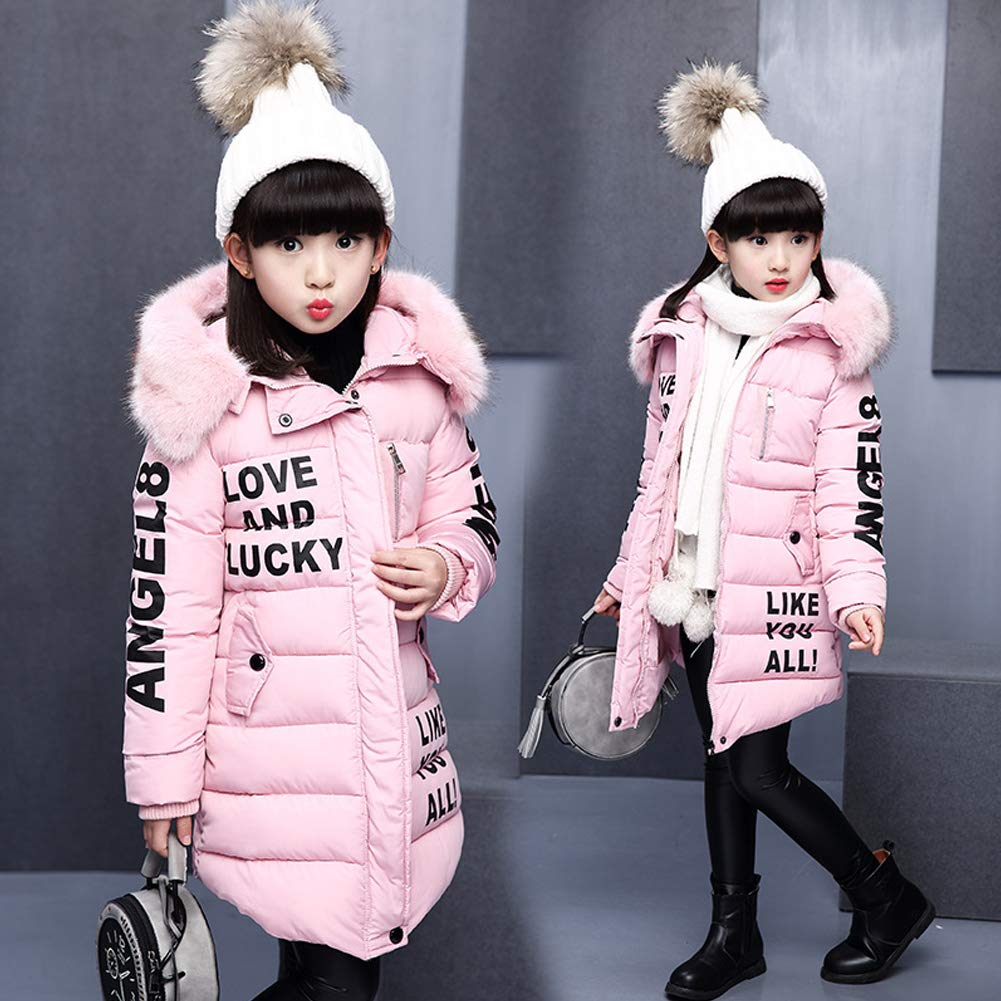 Abbigliamento Esterno LSHEL Giacca per Ragazza con Cappuccio di Pelliccia Giacca per Bambini Lunga Giacca Invernale per Ragazza con Cappuccio di Pelliccia