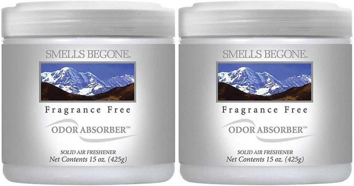 Smells Begone Air Freshener Odor Absorber Gel - Absorbs and Eliminates Odor in Pet Areas, Bathrooms, Cars, Boats (15 Ounce) (Fragrance Free 2 Pack)