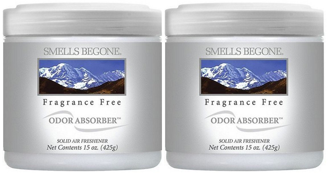 SMELLS BEGONE Air Freshener Odor Absorber Gel - 2 Pack (15 Ounce) (Fragrance Free 2 Pack)