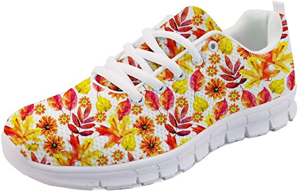 Hugs Idea - Zapatillas Deportivas para Mujer, Ligeras, fáciles de Caminar, para Correr, con Estampado de Hojas, Color, Talla 43 EU: Amazon.es: Zapatos y complementos