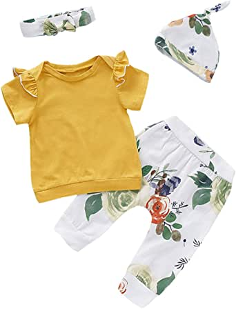 Newborn Baby Girls Clothes Ruffle T-Shirt + Floral Pants + Headband + Hat Outfit Sets (S-Yellow, 3-6 Months)