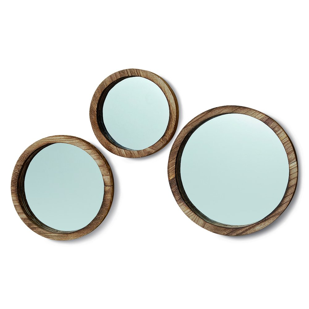 The Rustic Boho Chic Porthole Mirror Trio, Set of 3 - 10, 12 and 13 ¾-Inches Diameter, Glass and Sustainable Wood, By Whole House Worlds