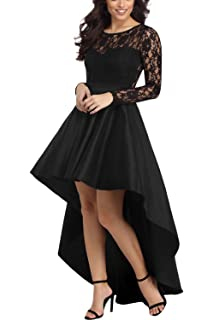 Bdcoco Womens Vintage Lace Long Sleeve High Low Cocktail Party Dress