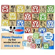 Melissa & Doug Disney Baby Classics My First Wooden Block Set - ABCs and 123s With 50 Solid-Wood Blocks