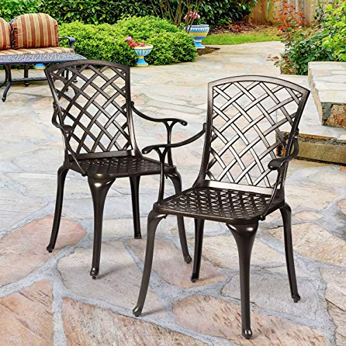 Giantex Aluminum Arm Dining Chairs Set of 2, Durable Cast Solid Construction, Outdoor Patio Bistro Chair w Hollow Design of Back, for Garden Backyard Poolside Living Room, Cast Arm Dining Chairs 1