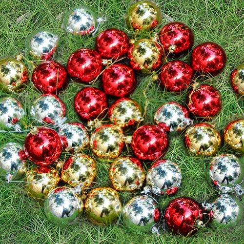 36 pack christmas baubles xmas tree decorations silver gold red size big diameter 60mm amazoncouk kitchen home - Red Gold And Silver Christmas Decorations
