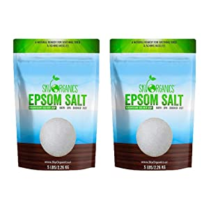 Epsom Salt by Sky Organics (2 x 5 lbs.) - 100% Pure Magnesium Sulfate USP Grade Kosher Non-GMO – Bath and Foot Soak Soothing Body Soak. Made in USA