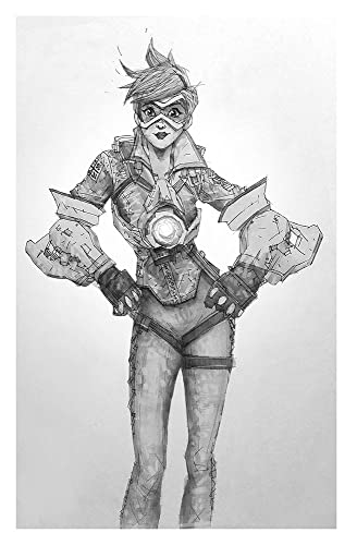 Tracer giclee print of pencil drawing of offense class character from overwatch video game