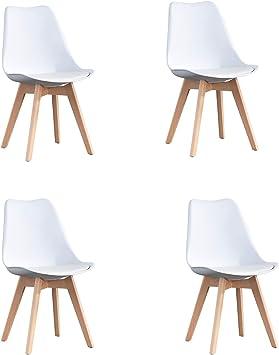 WV LeisureMaster Lot de 4 chaises Tulip de table à mangerbureau avec pieds en hêtre massif Ecos bianca