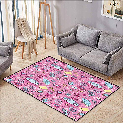 Large Area Rug,Teen Girls Decor Collection,Pattern of Cute Carriage with Teapots Cups Necklace Perfume Shoes Envelope Image,Anti-Slip Doormat Footpad Machine Washable,4'7