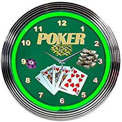 Neonetics Bar and Game Room Poker Neon Wall Clock, 15-Inch
