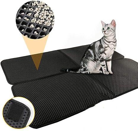 YCAT XL – Alfombrilla de Arena para Gatos, 35 x 26 Pulgadas, Impermeable, Doble Capa, para Caja de Arena para Gatos, fácil de Limpiar, Lavable, ...