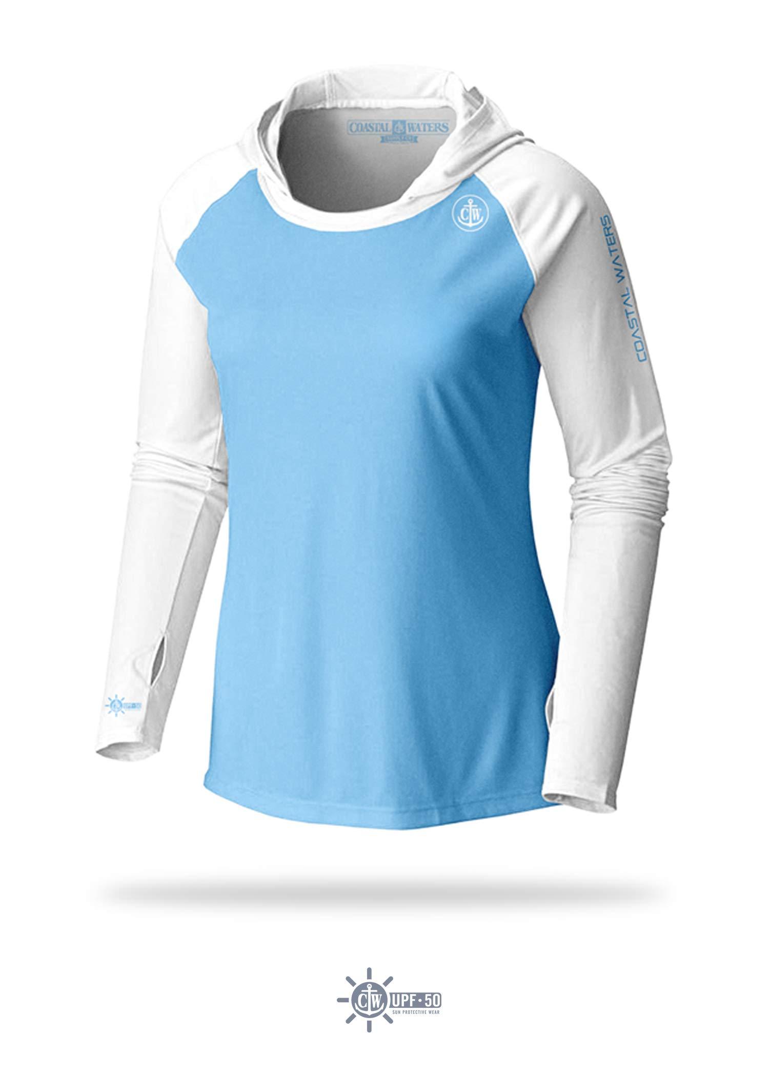 Women's Hooded Raglan Sun Protection (Sky Blue/White, Small)