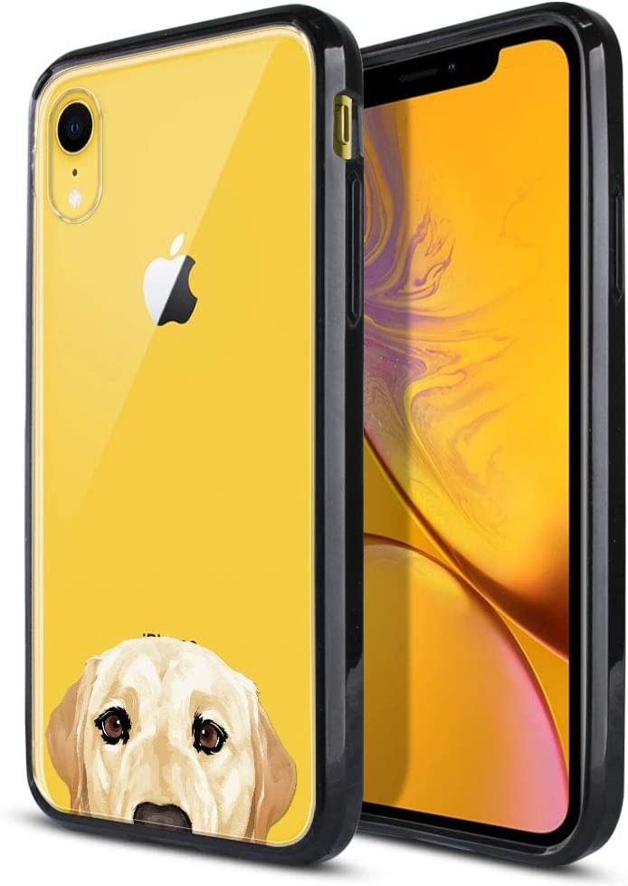 FINCIBO Case Compatible with Apple iPhone XR 6.1 inch, Slim Shock Absorbing TPU Bumper + Clear Hard Protective Case Cover for iPhone XR - Cream Labrador Retriever Dog